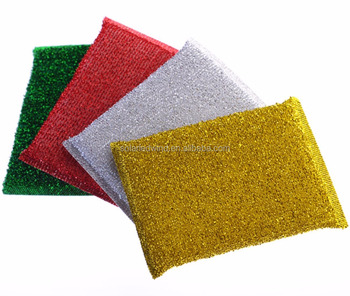 Golden And Silver Color Kitchen Cleaning Dishwashing Sponge ;Manga estropajo