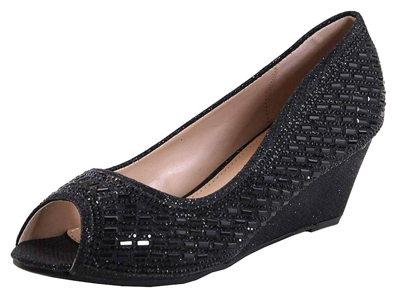 1f6a6d70a4403e Get Quotations · Bella Marie Women s Dressy Rhinestone Embellished Glitter  Peep Toe Wedge Sandal