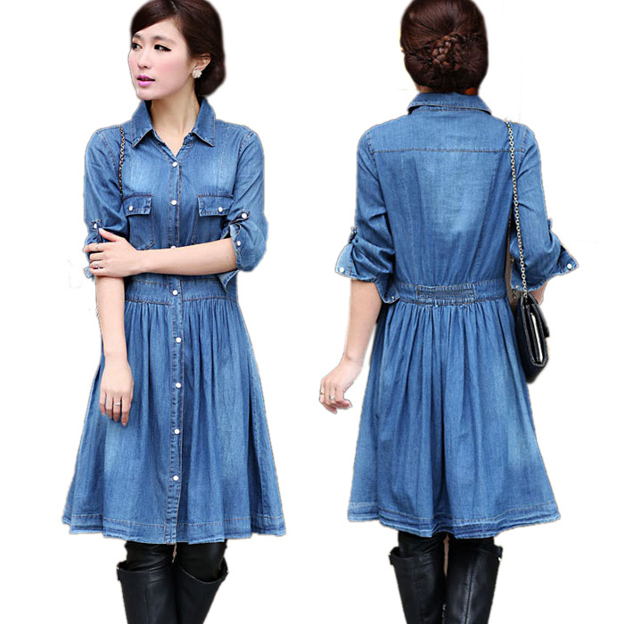 Autumn 2015 Women Denim Dress Plus Size Elegant Slim Cowboy Casual Dresses Jean Dress Hot Style Denim Dress Vestidos 3XL 4XL 853