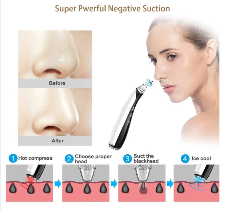 best skin care  usb rechargeable  facial pore cleaner beauty device comedo suction nose blackhead remover vacuum