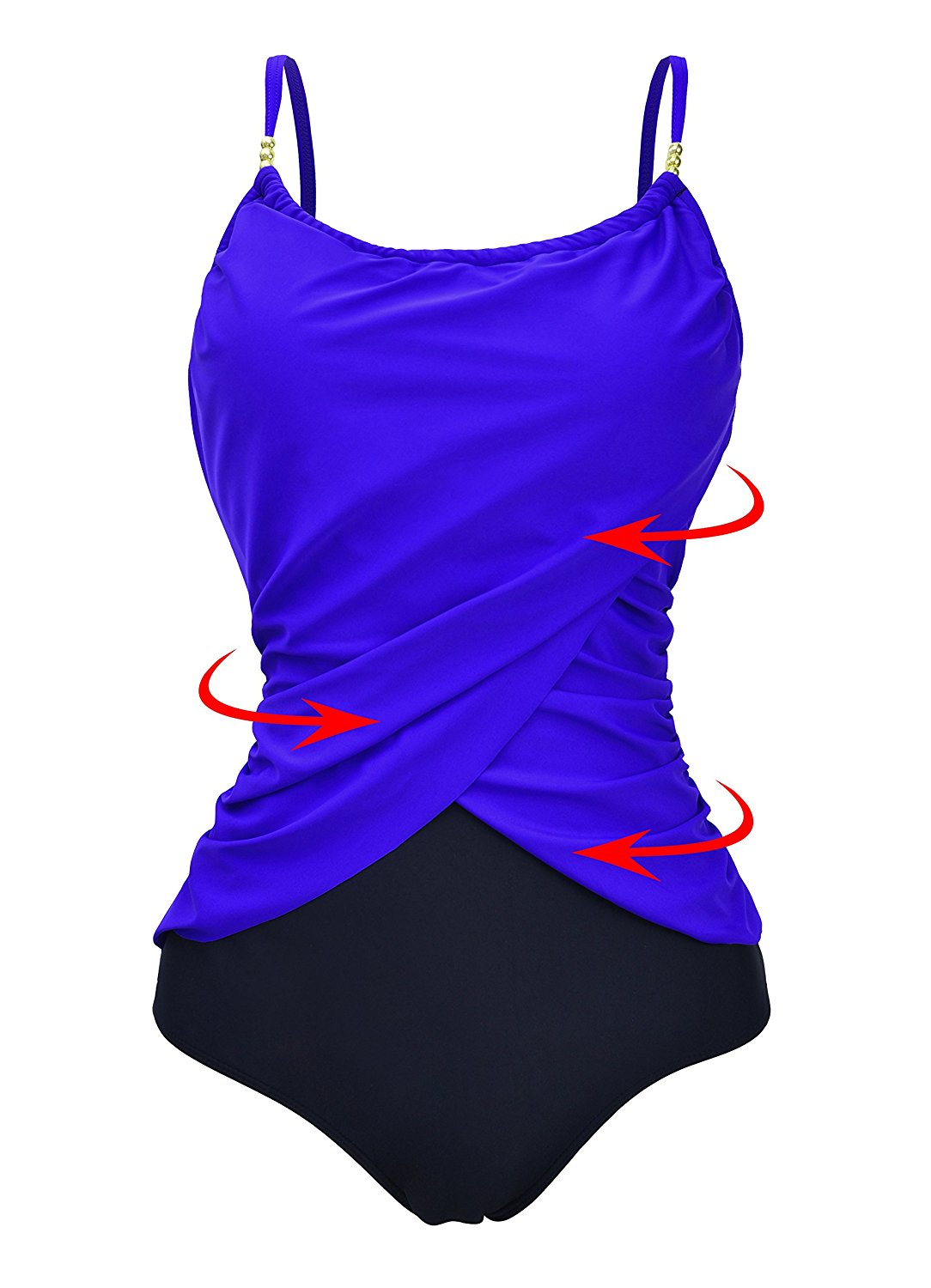 5d19ef3ad62 Get Quotations · Zando Womens Vintage Frilly One Piece Swimsuit Tummy  Control Swimwear Swimsuits Color Splicing Plus Size Bathing