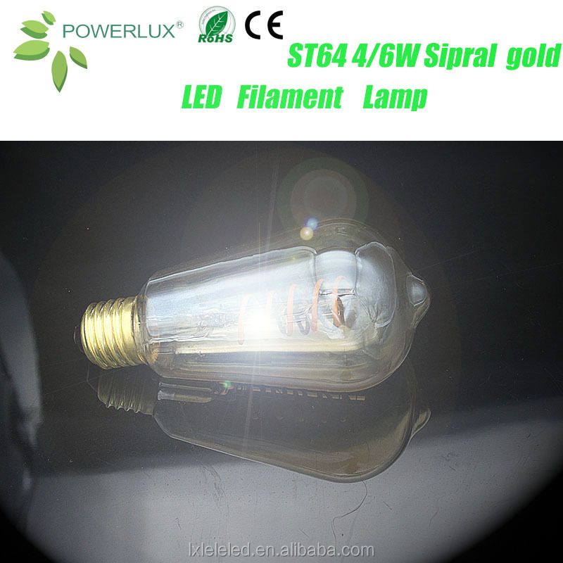 China Factory Price ST64 4W Edison LED Gold Flexible Filament Bulb With Vintage Style
