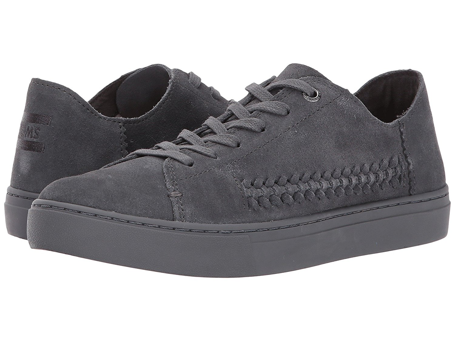 b0e4914eedd Get Quotations · TOMS Women s Lenox Sneaker Forged Iron Grey Monochrome  Deconstructed Suede Woven Panel Oxford