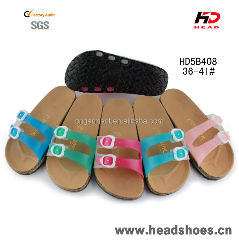 2016 Double buckle strap women new model nice PVC pcu summer slippers