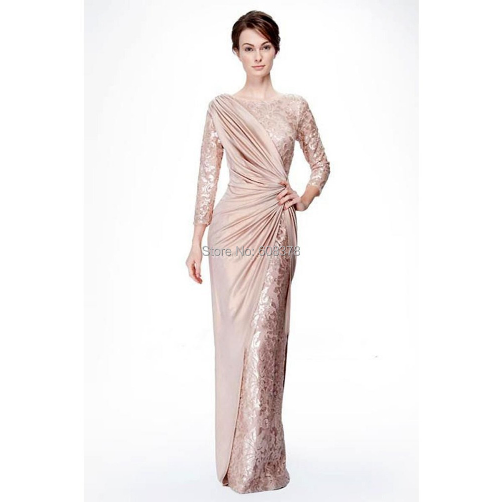 Stunning Mother Of The Bride Dresses: 2015-Sexy-Long-Sleeve-Sheath-Sequins-Stunning-Taffeta