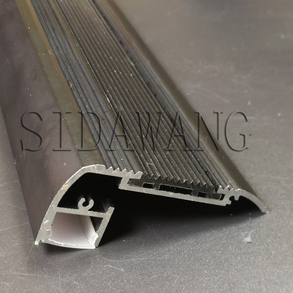 Black color Anodized Step Mounted Aluminum Led Strip Profile for 12mm stair led profile strip