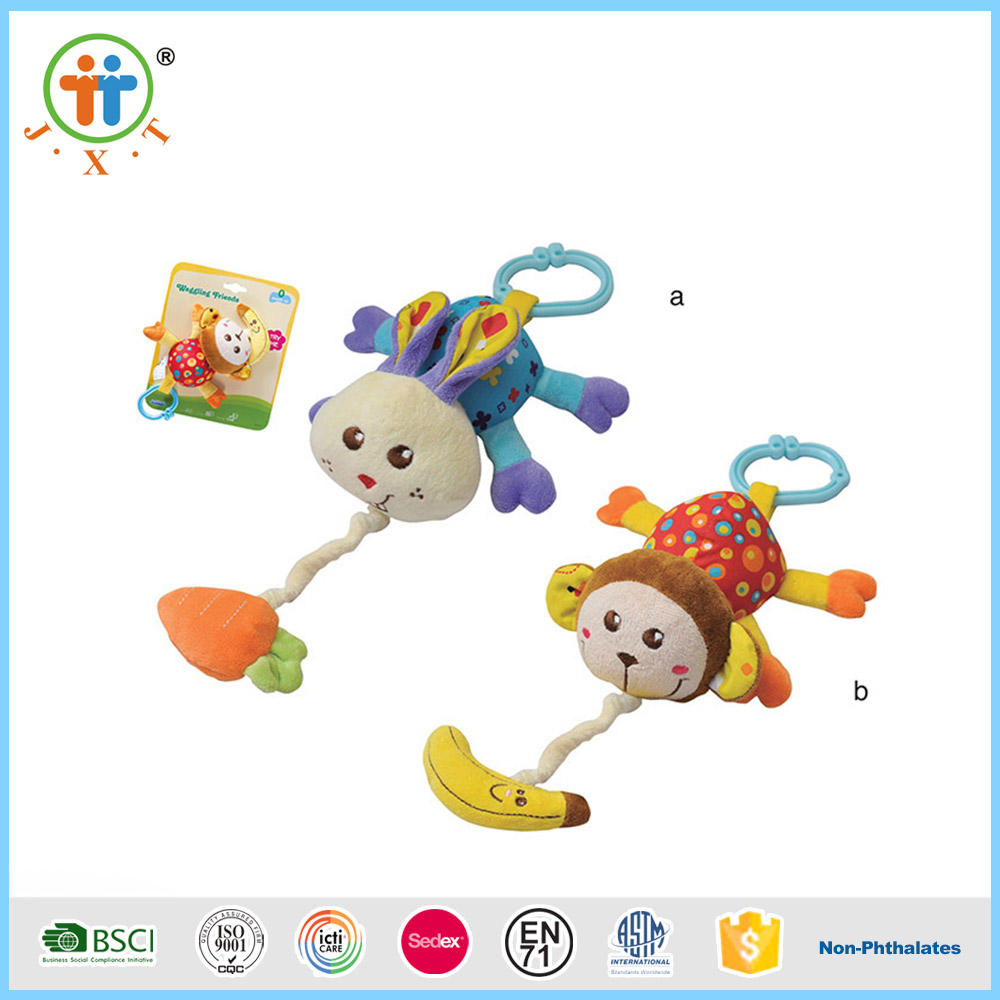 Monkey style pull line bed bell softy cotton plush baby toys with music