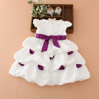 2015 summer kids new style appliqued flowers pure color casual clothes white gauze baby princess girl birthday party dress