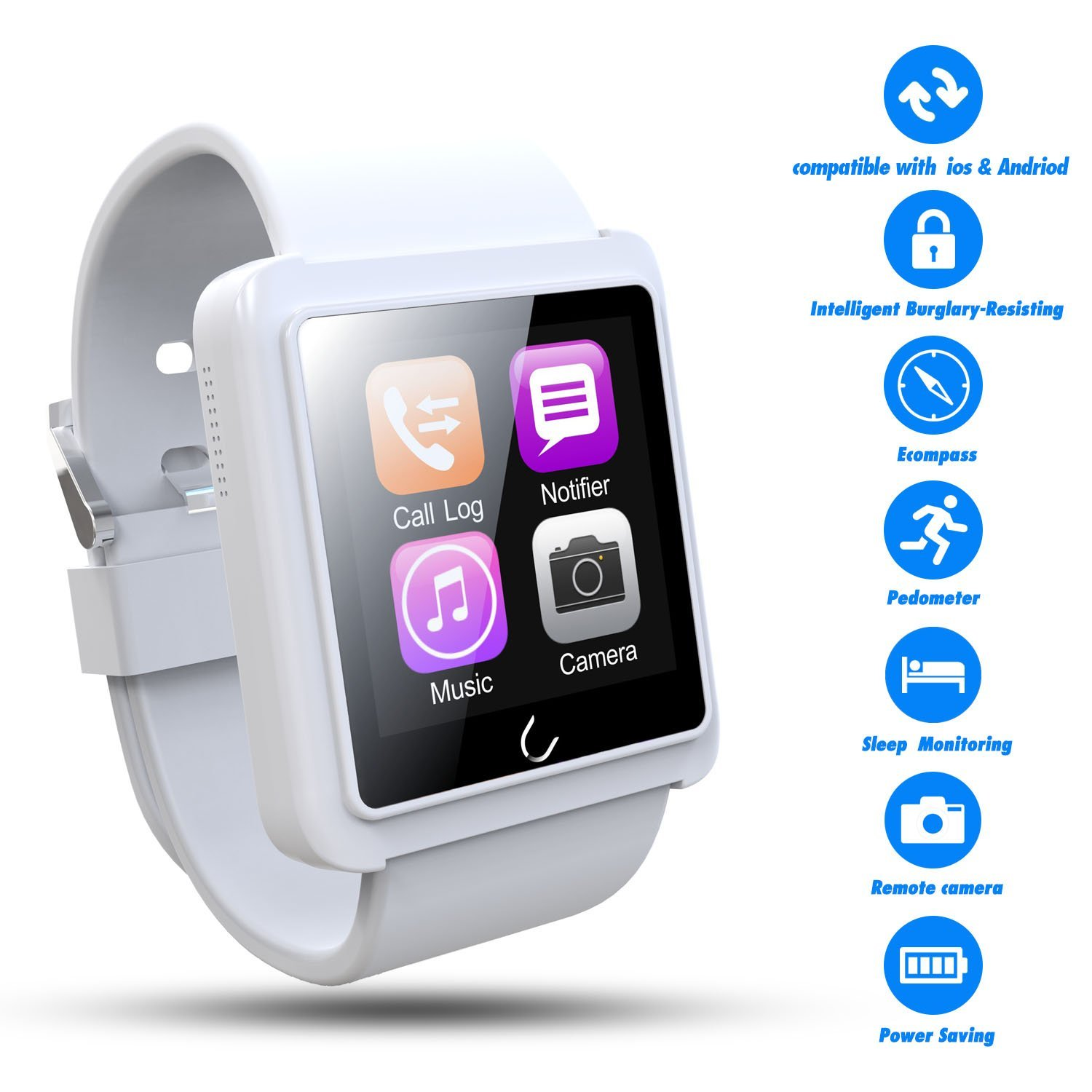 Smart Watch,Best Valentines Gift,Couples Watches,TWOBIU(TM)Bluetooth Smart Watch U10L with Pedometer+Anti-lost+Remote Camera+Sleep Monitoring+Stereo Music for IOS, Andriod Devices-White