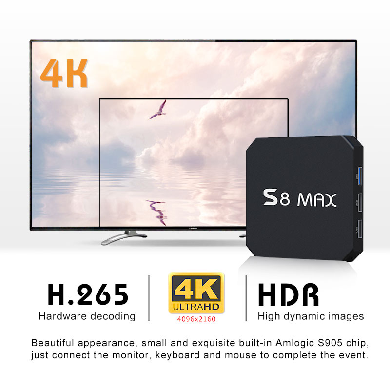 android set top box S8 MAX Android 8.1 OS 4GB RK3328 smart android tv box