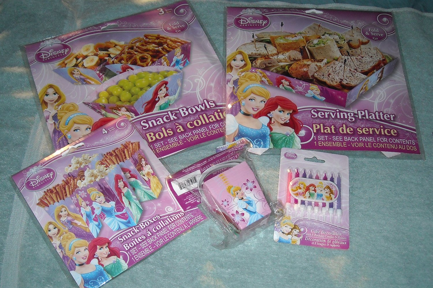 Disney Princess Birthday Party Table Decorations- Serving Platter, Snack Stand, Snack Bowls, Snack Boxes, Placemats, Cupcake cups & picks, Candles, Straws, Mini Pails
