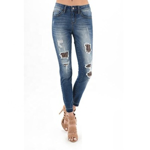 Hot Sale Wholesale Fashionable Personalized Fashion Women Leopard Patch Feet Leggings ripped Jeans pants