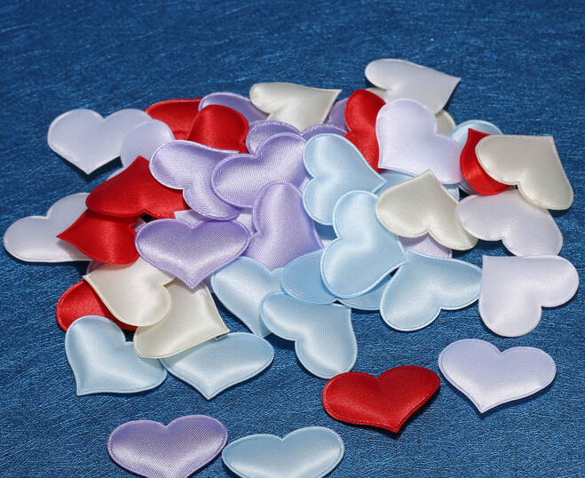 Colorful DIY Satin Heart Shaped Fabric Artificial flower petals Wedding Party Decor Scatter Confetti