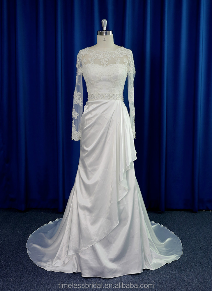 Casual long sleeve lace bodice soft satin draped skrit wedding dress with crystal belt