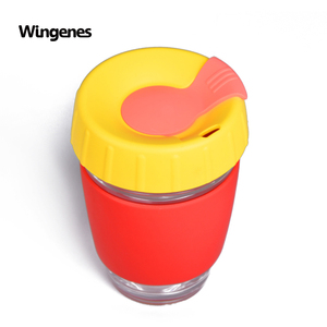 Wingenes Promotional Custom Glass Silicone Reusable Coffee Cup with Lid