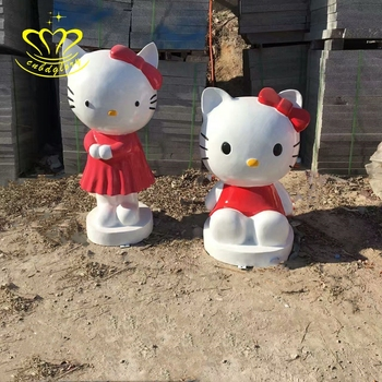 Wholesale Fiberglass sculpture New product life size Cartoon Cathy cat Statue for garden home decor