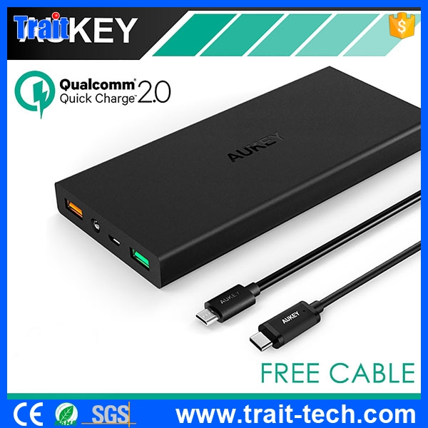 Aukey Portable Charger with Type C Cable,3 USB Ports 16000mah PB-Y2 Quick Charge 2.0 Aukey Power Bank for Phones