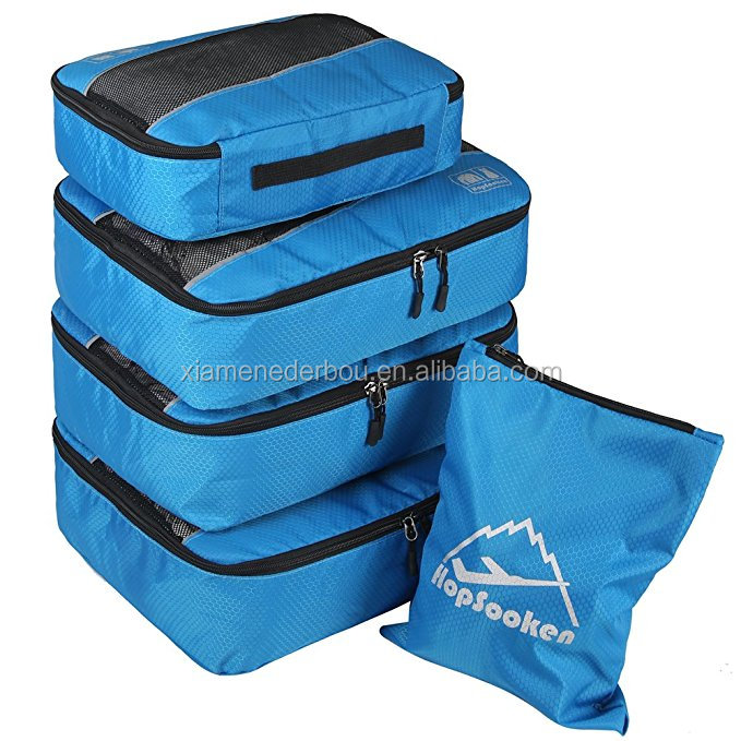 5pcs Packing Cubes Set Large Travel Luggage Organizer 4 Cubes 1 Laundry Pouch Bag