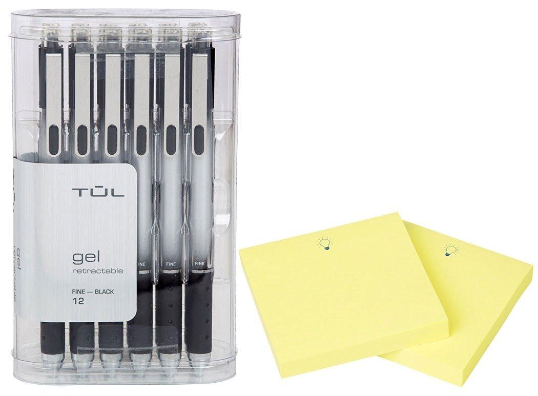 """TUL Retractable Gel Pens 0.5mm Fine Point, Black 12/pk + """"IdeaPad"""" Post-It Notes (200-ct) Bundle"""