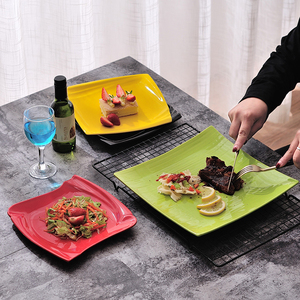 Western Food Beefsteak Dishes Square Plate Flat Ceramic Snack Plates Hotel Restaurant Noodle Dinner Plates Dishes