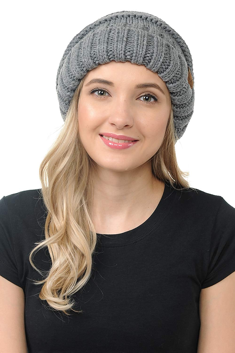 09c435de Get Quotations · BYSUMMER C.C. Oversized Stylish Thick Soft Cable Knit  Slouchy Warm Winter Beanie Hat