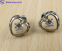 Hot Sale Crystal Love Heart Stud Shaped Stainless Steel Base CZ Stud Earrings Fashion Design