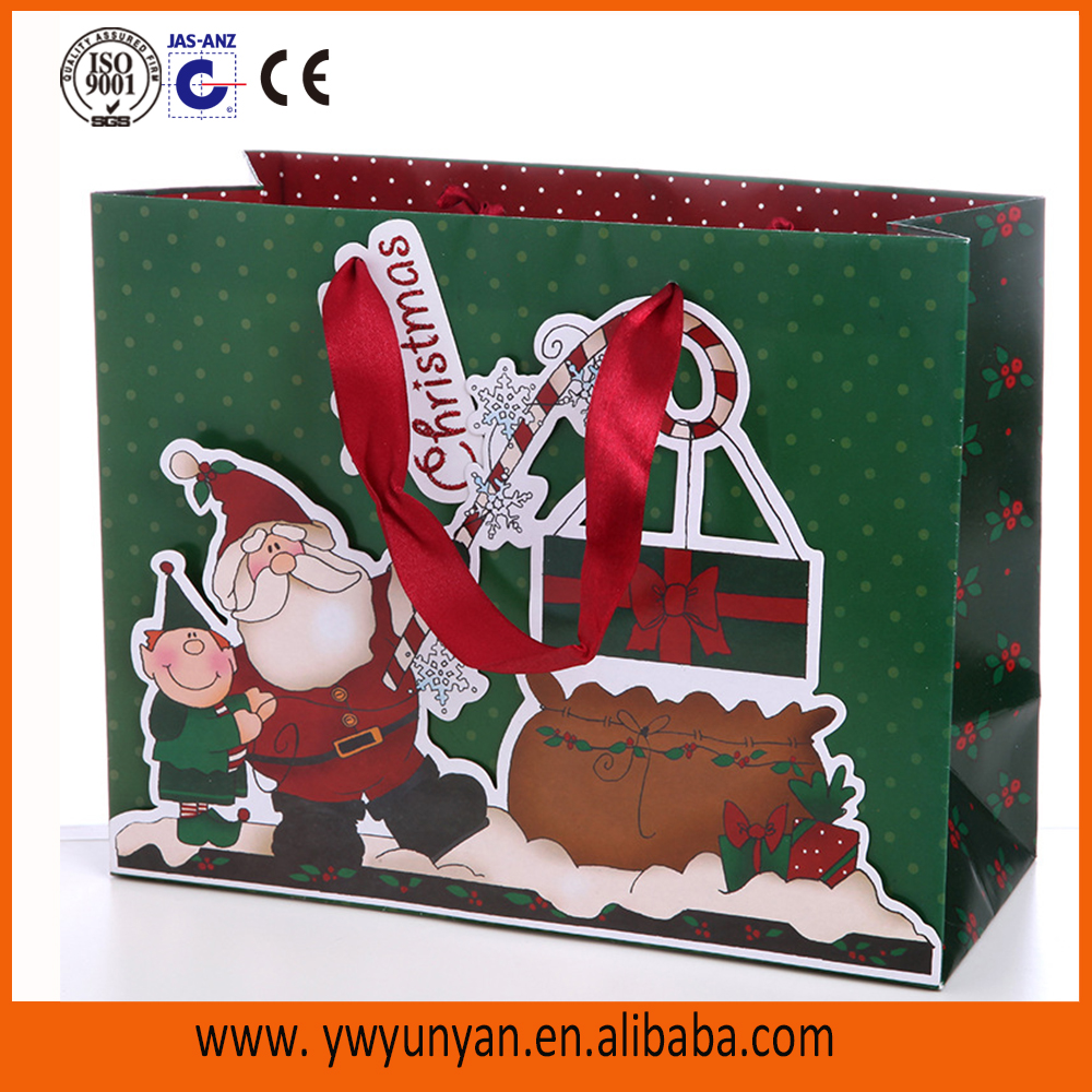 Christmas paper bag/Fancy Christmas paper gift bags/paper bags for christmas