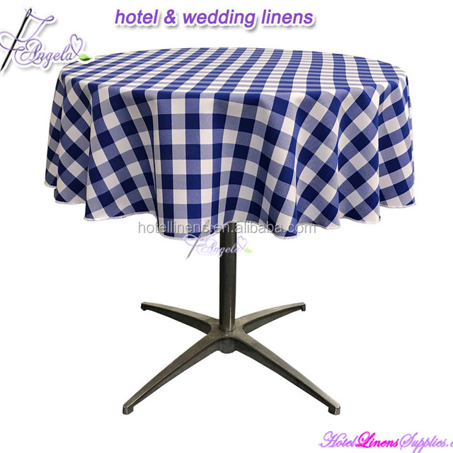78 Inch Round Blue And White Check Tablecloths For Restaurants, Hotels,  Clubs