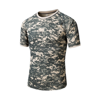 Custom Camouflage t Shirt Dry-Fit Short Sleeves Military Breathable Army Shirt