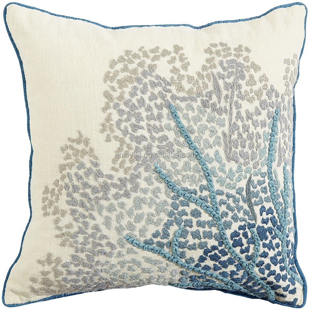Blue beautiful Coastal Embroidered cushion Sea Fan design Pillow