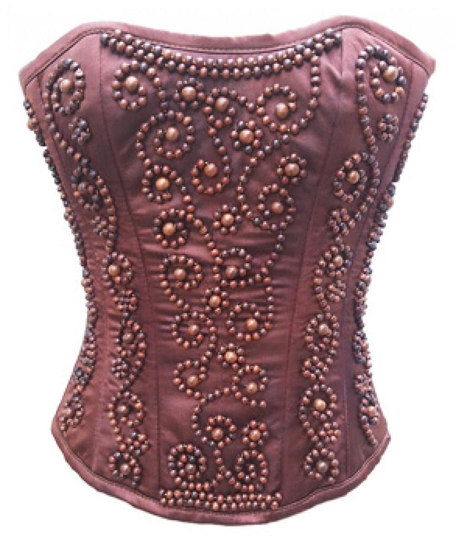 f9ea5778a55 Get Quotations · CorsetAttire Burgundy Satin Wooden Sequins Overbust Waist  Cincher Corset Top