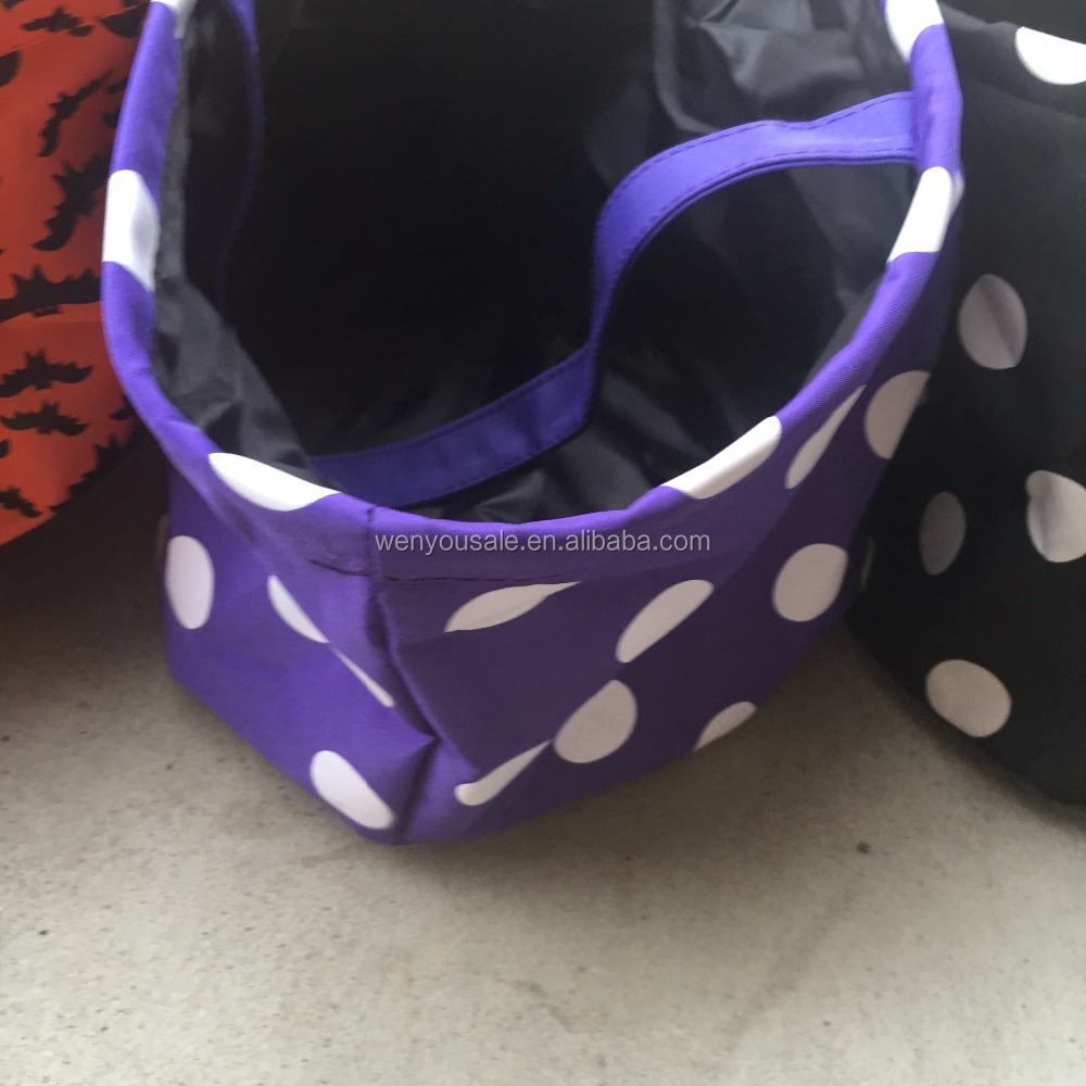 Ready to ship In Stock 10 styles Polka Dot Chevron House Tote Bag Skull halloween buckets tote bag Halloween Bucket Cloth Bags