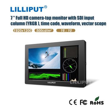"7 "" Full HD camera-top monitor with SDI input, 1920*1200"