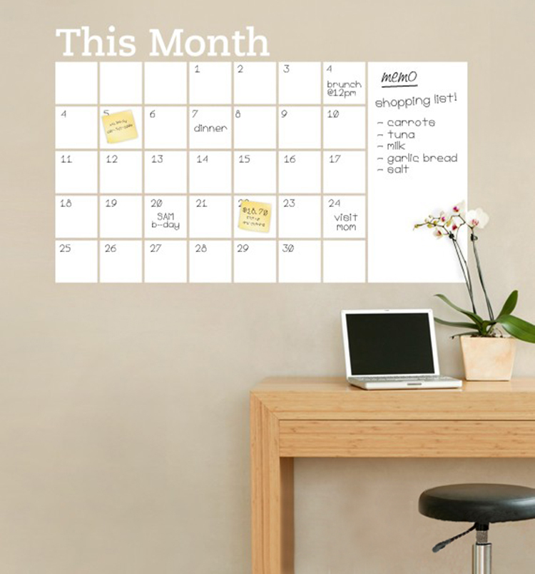 2015 new vinyl diy monthly chalkboard dry erase wall for Vinyl calendar template