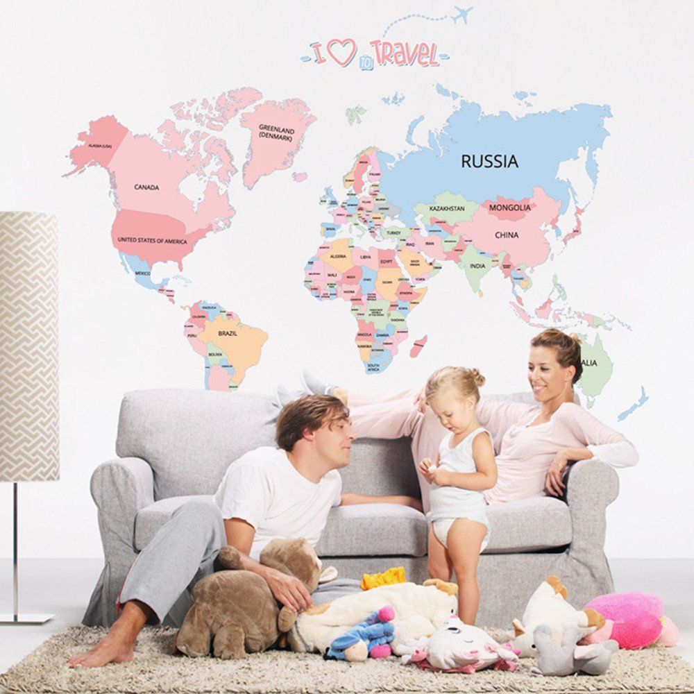 Cartoon Background Colorful English Words World Map Wall Art Decals Stickers Vinyl For Kids Rooms Parlour Television Wall Home (Pink)