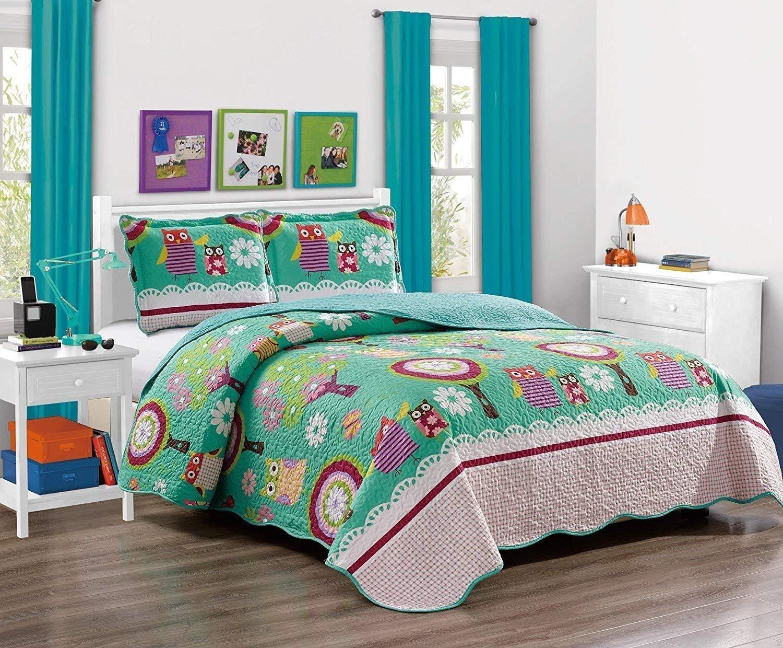 MK Home Mk Collection 5pc Twin Bedspread Set With Sheet Set Teens/Girls Owl Teal Green Aqua New #Owl Aqua