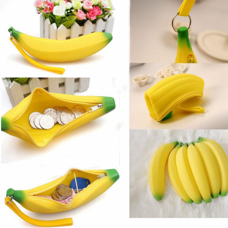 Новинка силиконовые портативный банан монета карандаш чехол сумка кошелек чехол брелок высокое качество