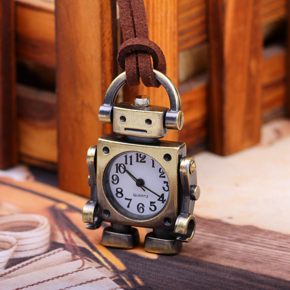 Retro vintage leather cord metal alloy robot pendant pocket watch for unisex women men electronic gift items