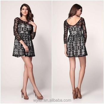 2015 European And American Style Sexy Women Long Sleeve Loose Lace Evening Dress Buy Women Long Sleeve Loose Lace Evening Dressevening Dressshort