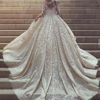 Imperial Lace Pearls Long Sleeve Ball Gown Bridal Weeding Dress