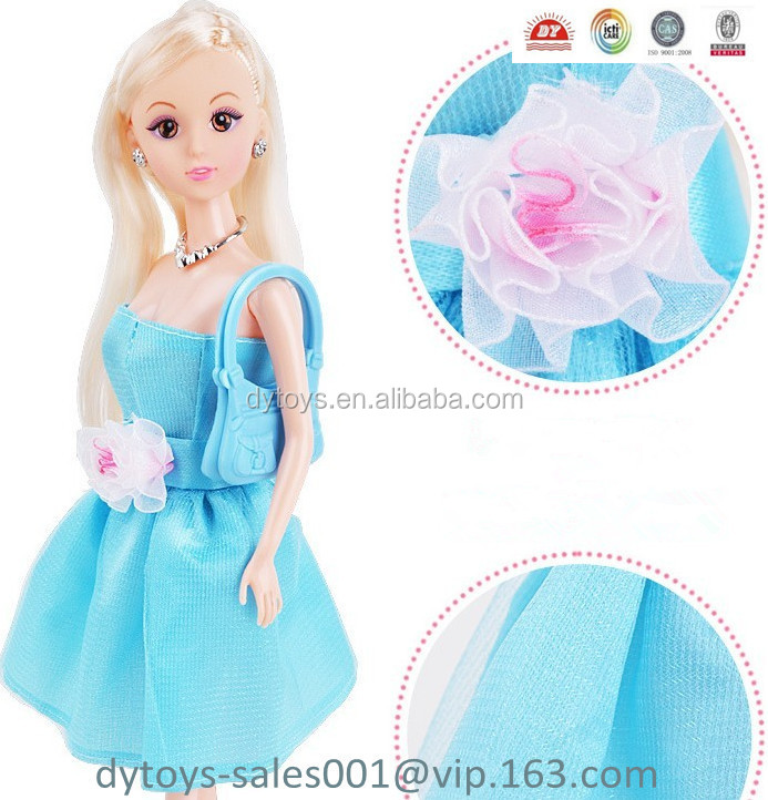 11.5 inch PVC beautiful fashion doll with dress , shoes comb,bag and umbrella ICTI certified factory