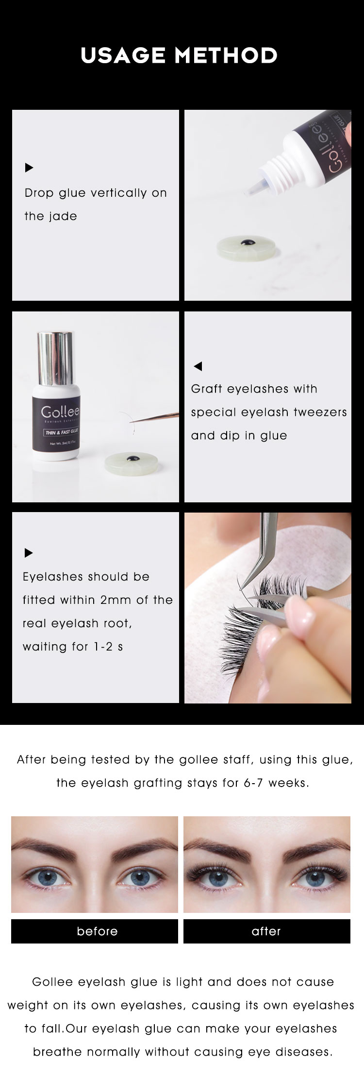 No Tears Formula 10ml Super Fast Setting in 1 Sec Max Bond 6-8 Weeks Private Label Eyelash Extension Glue Lash Extension Glue