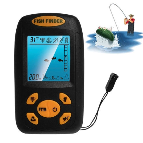 Hot selling Ultrasonic Fish Finder, Water Depth & Temperature Fishfinder with Wired Sonar Sensor Transducer and LCD Display