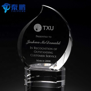 Wholesale leaf shaped crystal award plaques trophies for decoration