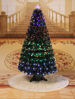 fiber optic color changing artificial christmas tree with 4 colors full lights