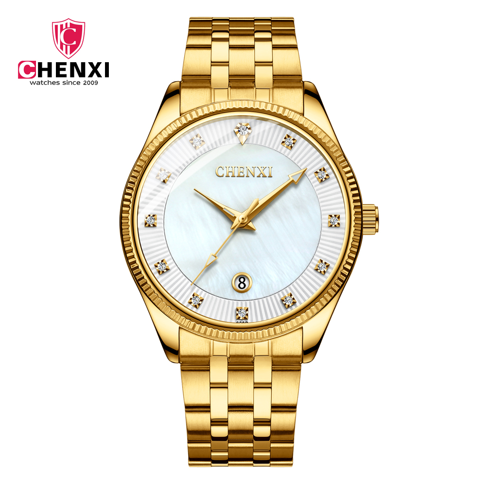 CHENXI 069B Men's Fashion&Casual Quartz Watch Luxury Gold Stainless Steel Band Watch Auto <strong>Date</strong>