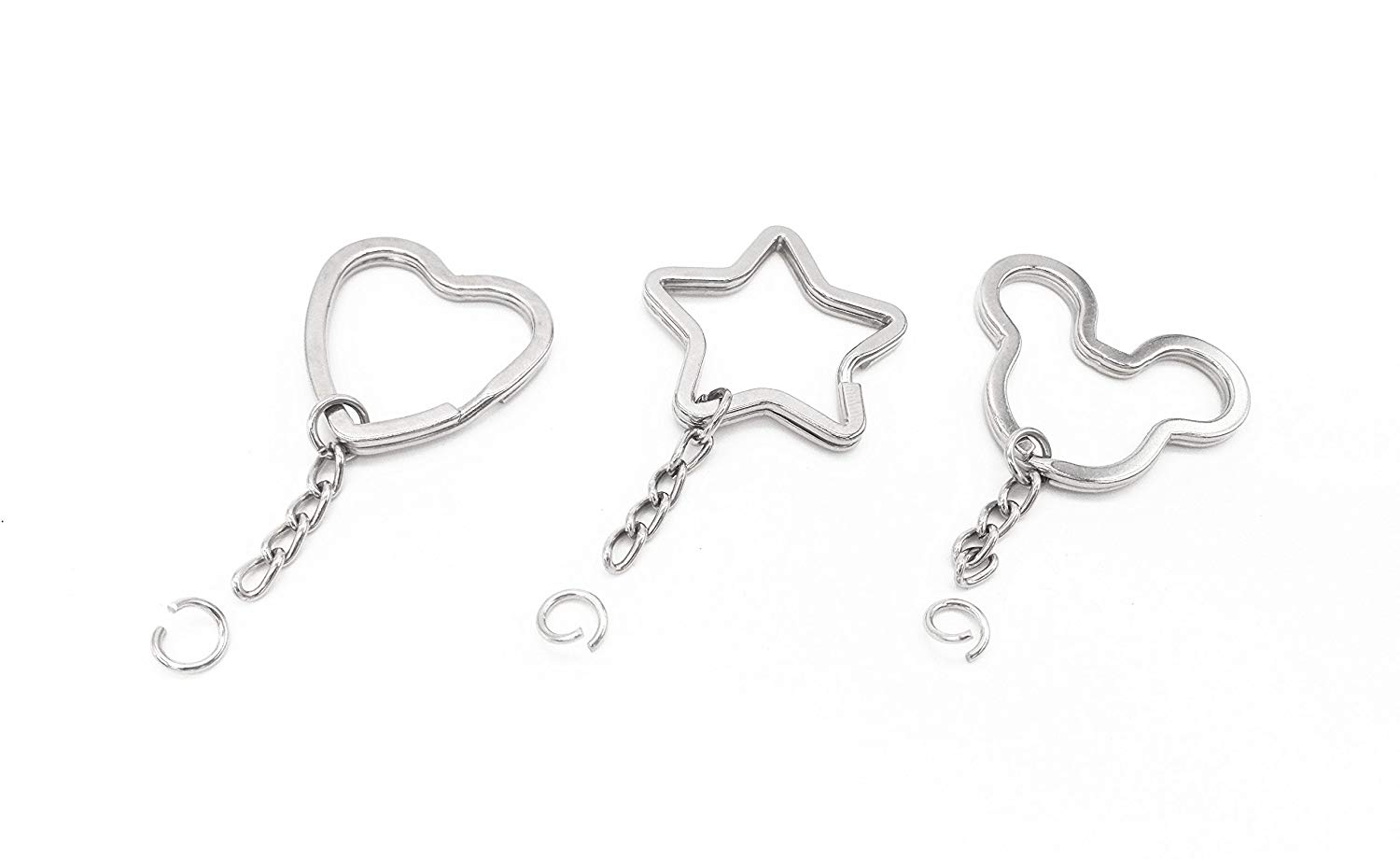 30 PCS Split Key Ring with Chain, Key Chain Parts, 3 Mix Styles, Star-Shaped, Bear-Shaped and Heart-Shaped Rings