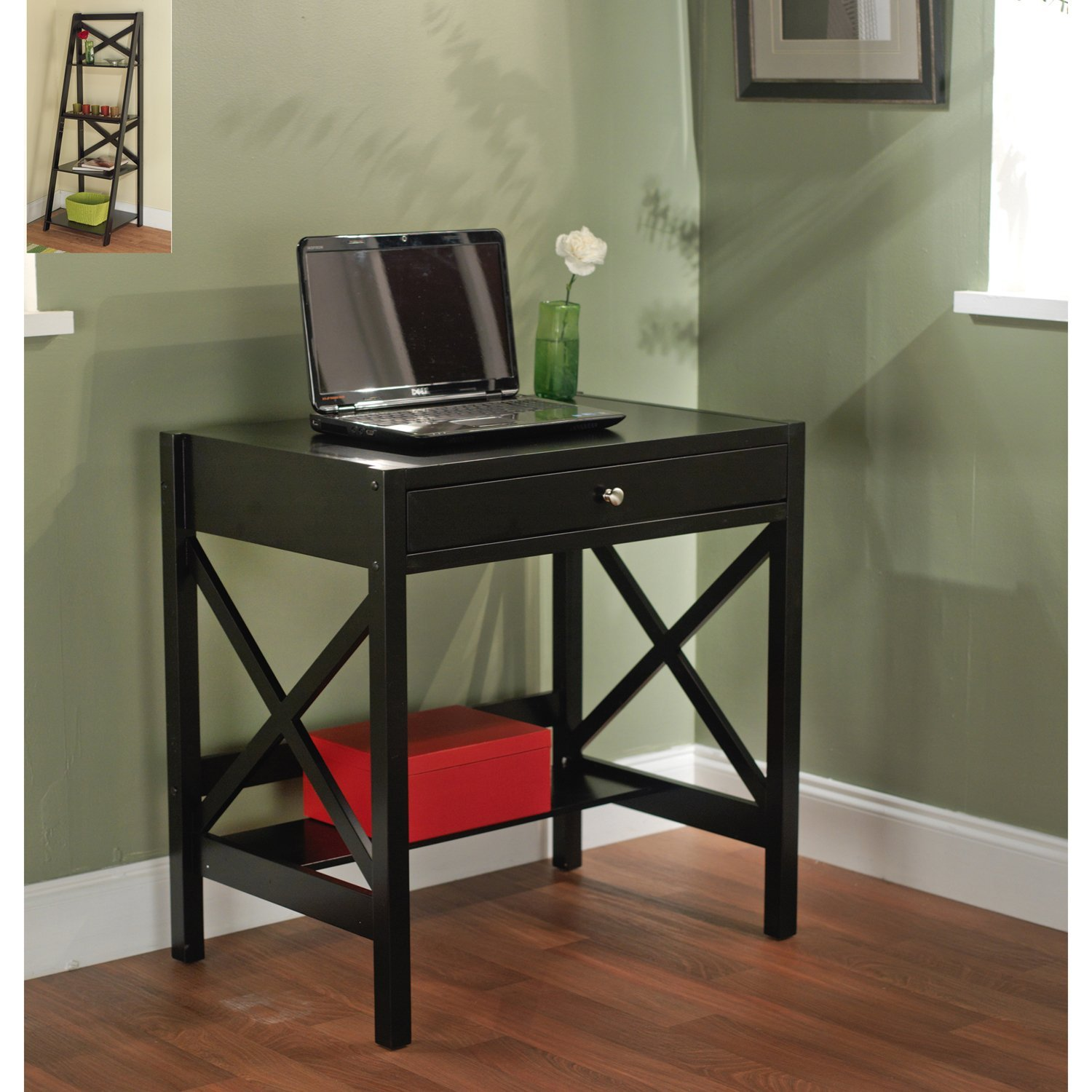 Get Quotations · Simple Living   Best Choice Wooden Black Writing Desk With  1 Drawer And Shelf (Classic