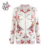 HAODUOYI White Birds of the Begonia Printed Women Outwears Long Sleeve Lady Coats Fashion Female Jacket for Wholesale