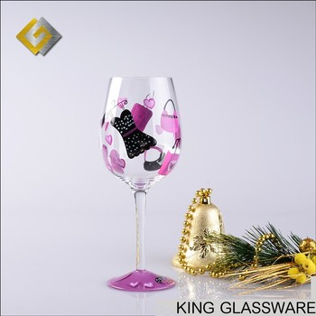 OEM Hand Painted Blown Happy Birthday Wishes Gift Wine Glass Glasses For Girl Wholesale